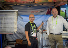 Antonio Gómez of Greenhouse Depot Inc showing the Holland Gaas products and catching up with Michiel van Spronssen with Glascom International