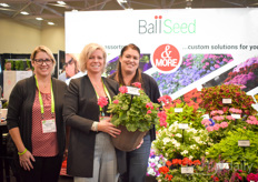 Heather Machin, Felicia Vandervelde & Tanya Carvalho with Ball Seed showing the Galaxy Geranium in watermelon colour.