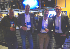 From the left: Arjan van der Meer and Olaf Mos with Dicans, Marinus Luiten with Priva and Thomas Wenneker with Codema enjoying some drinks