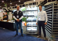 Nick Mela & Bram Appels with DHP Total Indoor Solutions. Their newly launched propagation carts provide 5 propagation levels and 30 independent and removable propagation areas. The closed off propagation areas minimise the crosslink contamination risk.