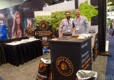 Mike Abramson & Michael Krychowecky with Gorilla Boost showing their substrates for the cannabis industry