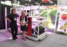 Jerome Doucet & Line Magier with Montel, showing their mobile racking solutions for the horticultural industry