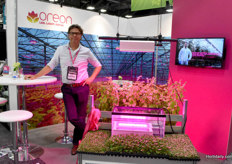 Arnold de Kievit, Sales Manager of USA/Canada of Oreon shows their water-cooled LED grow lights
